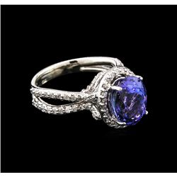 4.41ct Tanzanite and Diamond Ring - 14KT White Gold