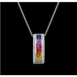 2.06ctw Multi Sapphire and Diamond Pendant With Chain - 14KT White Gold