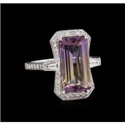 14KT White Gold 4.89ct Ametrine Quartz and Diamond Ring