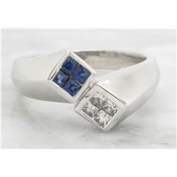 0.24ctw Diamond and Sapphire Ring - 14KT White Gold