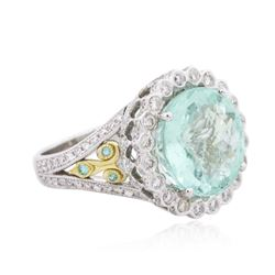 18KT Two-Tone Gold 8.77ctw Tourmaline and Diamond Ring