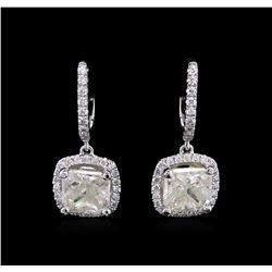 3.47ctw Diamond Earrings - 18KT White Gold