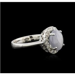 18KT White Gold 3.00ct Star Sapphire and Diamond Ring