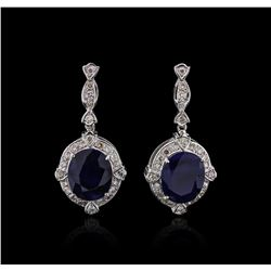 14KT White Gold 15.46ctw Sapphire and Diamond Earrings