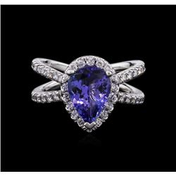 2.40ct Tanzanite and Diamond Ring - 14KT White Gold
