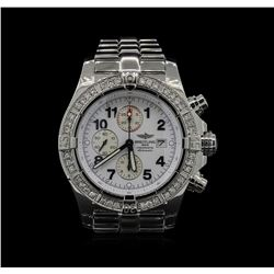 Breitling Stainless Steel 1.80ctw Diamond Super Avenger Mens Watch