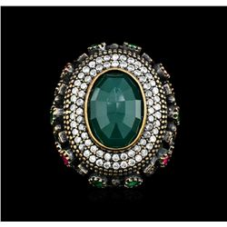 14.29ct Green Crystal and Multi Gemstone Ring - 925 SILVER