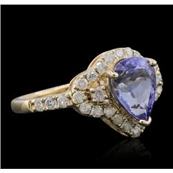 14KT Yellow Gold 1.44ct Tanzanite and Diamond Ring