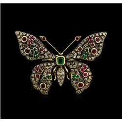 1.86ctw Multi Gemstone and Diamond Pin - 18KT Yellow Gold