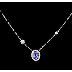 1.25ct Tanzanite and Diamond Necklace - 14KT White Gold