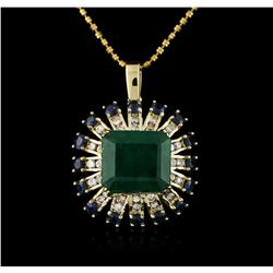14KT Rose Gold 7.68ct Emerald, Sapphire and Diamond Pendant With Chain