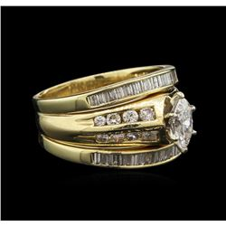 1.51ctw Diamond Wedding Ring Set - 14KT Yellow Gold