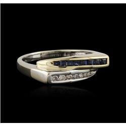 10KT Two-Tone Gold 0.20ctw Sapphire and Diamond Ring