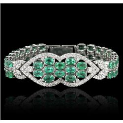 14KT White Gold 22.00ctw Emerald and Diamond Bracelet