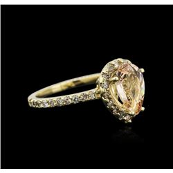 14KT Yellow Gold 1.29ct Morganite and Diamond Ring