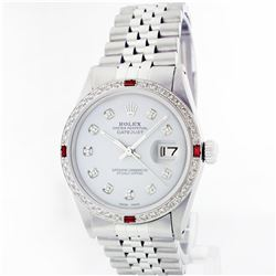 Rolex Stainless Steel 1.00ctw Diamond and Ruby DateJust Men's Watch