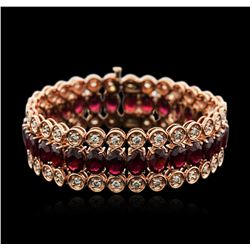 14KT Rose Gold 44.70ctw Ruby and Diamond Bracelet