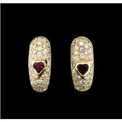 0.60ctw Ruby and Diamond Earrings - 14KT Yellow Gold
