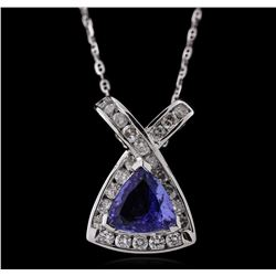 14KT White Gold 1.72ct Tanzanite and Diamond Pendant with Chain