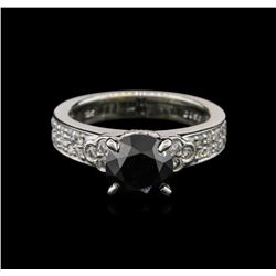 2.43ctw Black Diamond Ring - 18KT White Gold