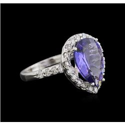 4.81ct Tanzanite and Diamond Ring - 14KT White Gold