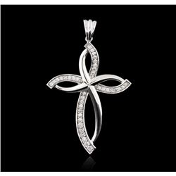 14KT White Gold 0.58ctw Diamond Cross Pendant