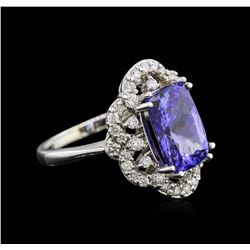3.67ct Tanzanite and Diamond Ring - 14KT White Gold