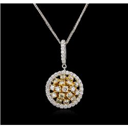1.76ctw Fancy Yellow Diamond Pendant With Chain - 14KT Two-Tone Gold