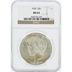 1922  NGC MS63 Morgan Silver Dollar