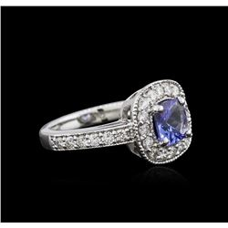 14KT White Gold 1.23ct Tanzanite and Diamond Ring