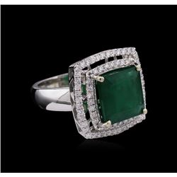 14KT White Gold 6.03ct Emerald and Diamond Ring