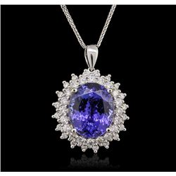 14KT White Gold 9.14ct Tanzanite and Diamond Pendant With Chain