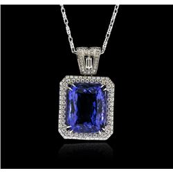 18KT White Gold GIA Certified 16.95ct Tanzanite and Diamond Pendant With Chain