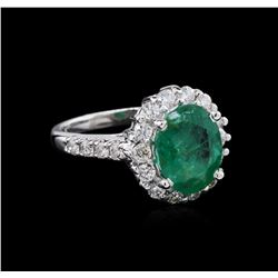 2.65ct Emerald and Diamond Ring - 14KT White Gold