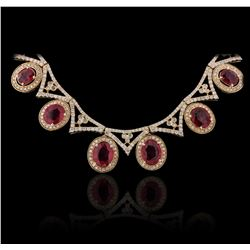 14KT Yellow Gold 16.12ctw Ruby and Diamond Necklace