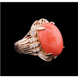 14.35ct Pink Coral and Diamond Ring - 14KT Rose Gold