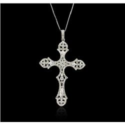 14KT White Gold 0.88ctw Diamond Cross Pendant With Chain