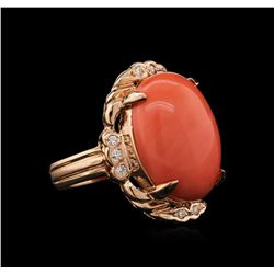 11.87ct Coral and Diamond Ring - 14KT Rose Gold