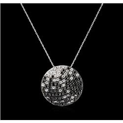 2.17ctw Black Diamond Pendant With Chain - 14KT White Gold