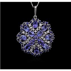 14KT White Gold 19.19ctw Tanzanite and Diamond Pendant With Chain