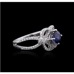 18KT White Gold 1.01ct Sapphire and Diamond Ring