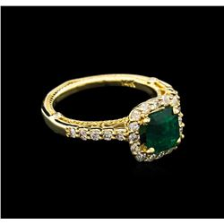 1.29ct Emerald and Diamond Ring - 14KT Yellow Gold