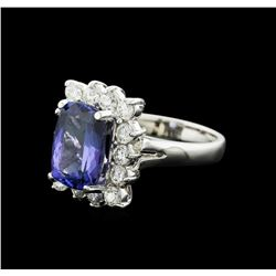 14KT White Gold 3.90ct Tanzanite and Diamond Ring
