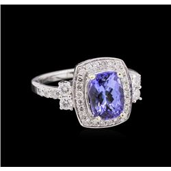 2.21ct Tanzanite and Diamond Ring - 14KT White Gold