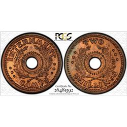1943 WWII Internment Camp Two Shillings - PCGS MS 65RB