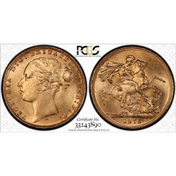 1876 Melbourne Mint QV Sovereign - PCGS MS 63