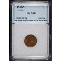 1909-S LINCOLN CENT, CHOICE BU  KEY DATE! NNC GRADED
