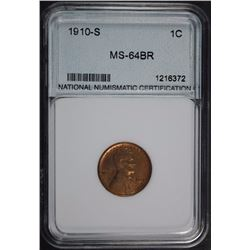 1910-S LINCOLN CENT NNC GEM BU SEMI-KEY