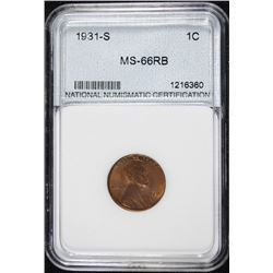 1931-S LINCOLN CENT, NNC GRADED SUPERB GEM BU