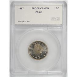 1887 LIBERTY NICKEL SEGS GEM PROOF CAMEO